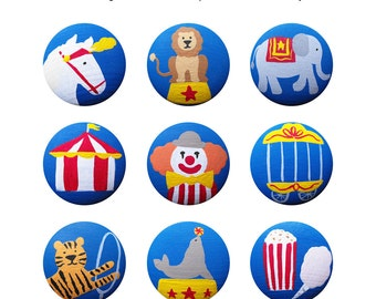 Hand Painted Knob - Children's Custom Hand Painted Big Top Circus Drawer Knobs Pulls or Nail Covers for Kids