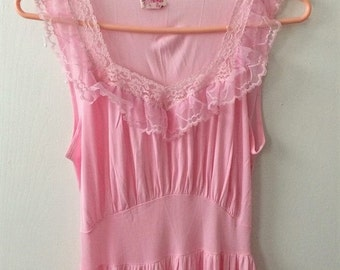 Pink Nightgown Lace Gown Lingerie Vintage Sheer 34 S Philmaid