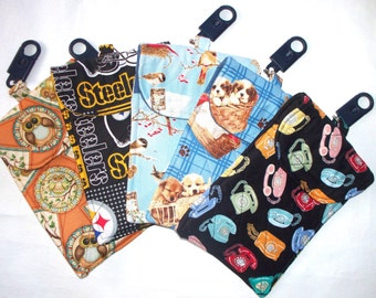XL Quilted iPhone Pouch,Extra Large Cell Phone Holder,Belt Loop Clip,Key Ring,Camera Bag, Owls,Birds,Puppies,Steelers,Retro Telephones