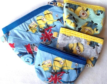 Disney Minion Despicable Me Quilted Cosmetic Bag or Coin Purse,Your Choice of Pixar British Minions,or Happy Minion
