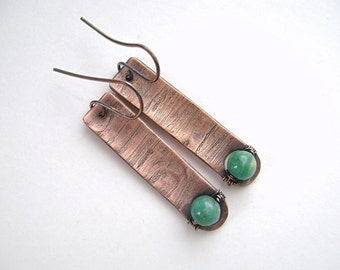 Amazonite Copper Bar Earrings, Etched Copper, Russian Amazonite, Oxidized Copper, Concave, Anticlastic, Metalsmith Earrings, 989