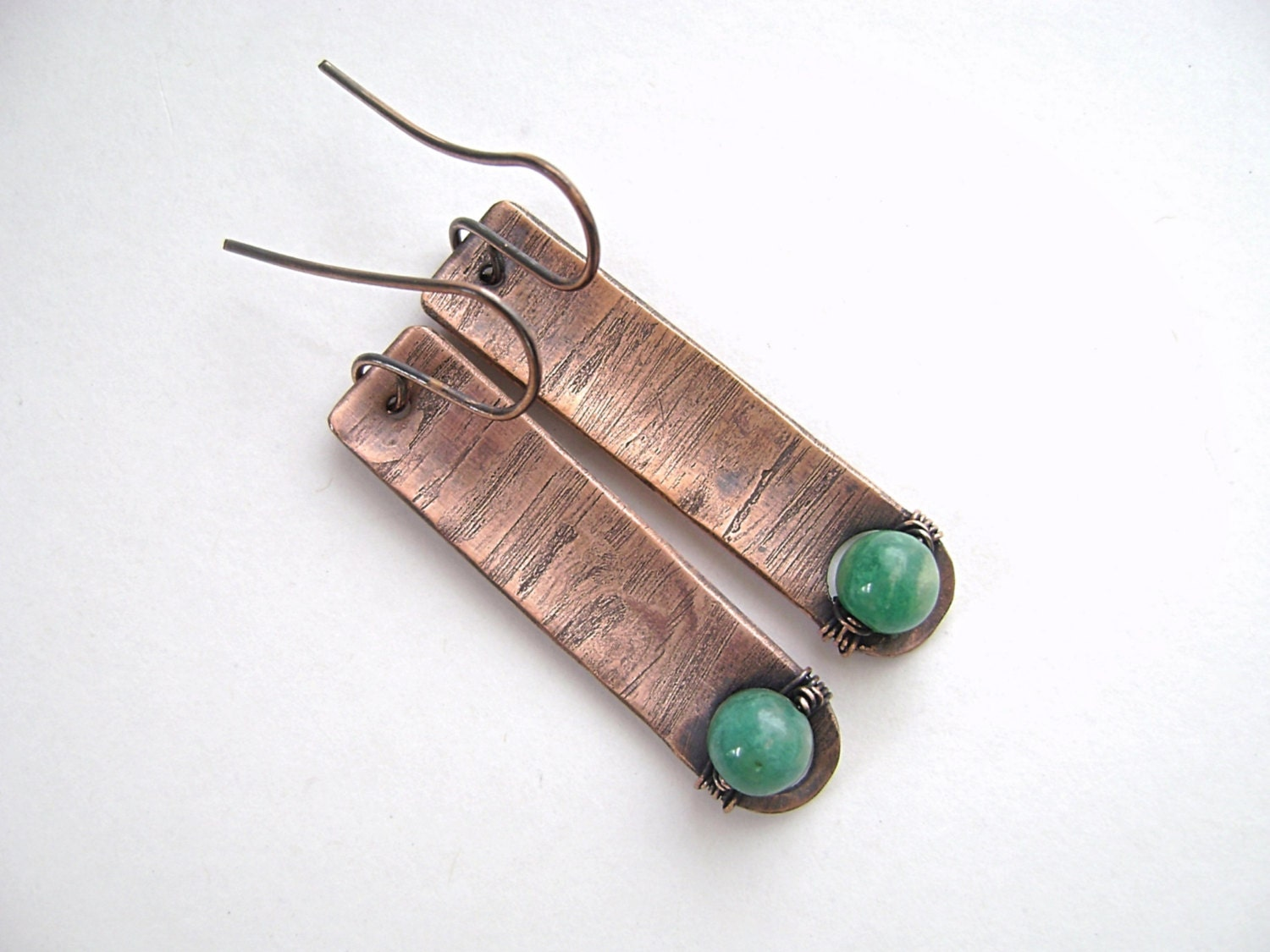 Amazonite Earrings, Copper Bar Earrings, Wire Wrapped, Rustic ...