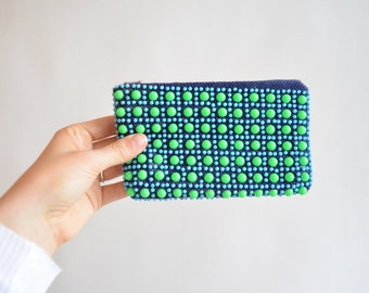 Vintage 1960s BEADED coin purse
