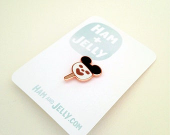 Melted Mouse Bar Cloisonne Pin in Rose Gold