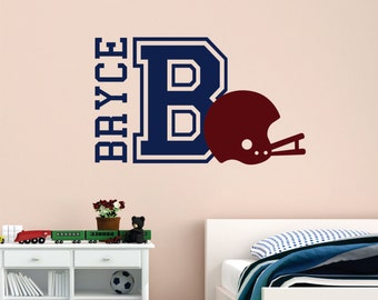 Football Wall Decal - Football Wall Decal - Football Player Vinyl Wall Decal - Football Name Decal - Football Helmet wall decal