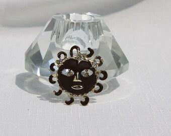 Folk Art Style SUN EL SOL Vintage Pin Cut Out Eyes dangling rhinestones