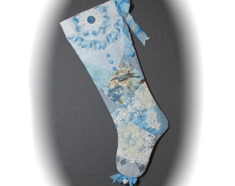 Quilted Christmas Stocking Blue and White Patchwork Vintage Crochet  Shabby Chic Victorian Cottage