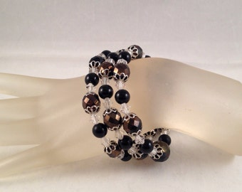 Black and White Crystal Wrap Bracelet, Wraps Around Three Times and Fits All Sizes, One of Kind Previously 25 Dollars ON SALE
