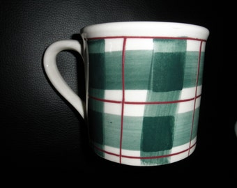 Vintage Hartstone Buffalo Plaid / Check Mug in Green & Red, 1982