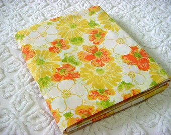 "Mod 60s 70s Full Flat Bed Sheet -Vintage Flower Power Yellow Orange Daisy Floral Double Size Dan River ""Tranquale"" No Iron Percale Fabric"