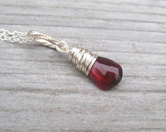 Garnet Necklace,  Sterling Silver Wire Wrapped Mozambique Garnet,  Burgandy Pendant,  January Birthstone,  Garnet Jewelry