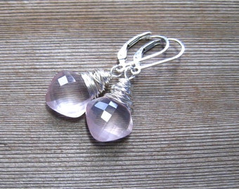 Genuine Rose Quartz Earrings,  Pink Dangle Earrings,  Cushion Cut Stone Wire Wrapped in Sterling Silver, Rose Quartz Jewelry