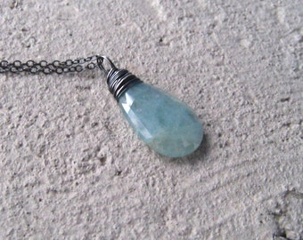 Aquamarine Necklace March birthstone,  Blue Stone Aquamarine Jewelry,  Sterling Silver Wire Wrapped