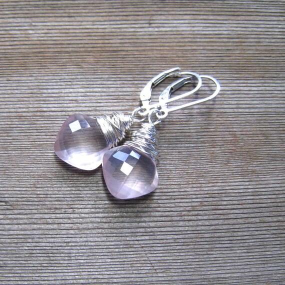 Genuine Rose Quartz Earrings,  Pink Dangle Earrings,  Cushion Cut Stone Wire Wrapped in Sterling Silver, Rose Quartz Jewelry