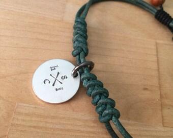 Mens Leather Charm Bracelet- Mens Jewelry- Adjustable Bracelet - Christmas Gift- Stocking Stuffer