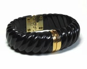 60s Mod Black Clamper Bracelet with Gold Accents in Ribbed Hinged Design - Vintage 60's Lucite Plastic New Old Stock Costume Jewelry