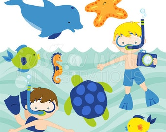 Snorkeling Fun Boys Cute Digital Clipart, Commercial Use Clip art, Summer Swimming Clipart, Ocean Life, Underwater, Fish, Dolphin