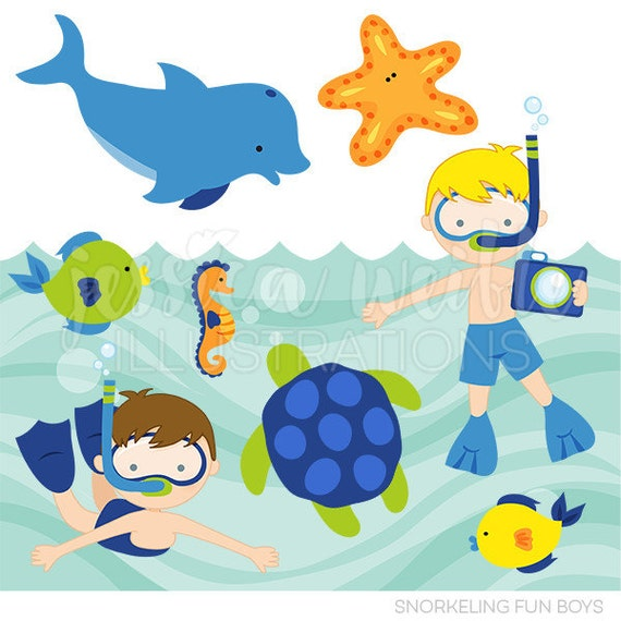 snorkeling fun boys cute digital clipart commercial use clip art rh catchmyparty com ocean life clipart black and white printable ocean life clipart