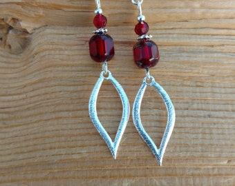 Red Diamond Drop Earrings, Red Diamond Sterling Silver Earrings, Red Silver Sterling Earrings, Silver Red Earrings