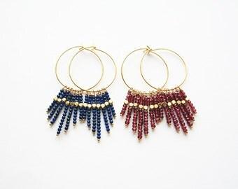 Boho Earrings, Hoop Earrings, Lapis Lazuli Earring, Garnet Earring