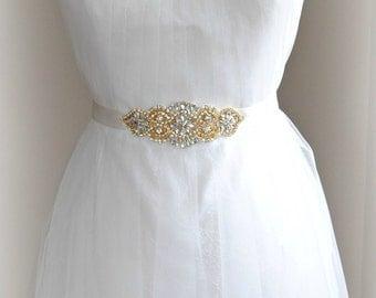 "Gold Crystal & Pearl Sash, Gold Skinny Wedding Belt, Rhinestone Bridal Sash, 5.75"" of Rhinestones, Custom Colors - AMELIE JAUNE PETITE"