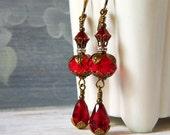 Siam Red Crystal Earrings Red Dangle Victorian Dark Red Earrings Berry Red Teardrop Earrings Boho Long Garnet Ruby Briolette Drop Brass