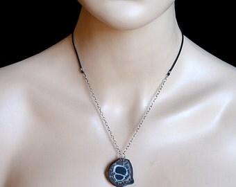 FREE SHIPPING---Septarian Nodule Half Rock Pendant Leather Necklace---Sterling Silver---Creations by Sandy