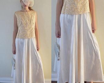 Vintage Silk Skirt, Linda Lundstrom, Ivory Silk Skirt, Maxi Silk Skirt, Long Silk Skirt, 1990s Silki Skirt, Evening Skirt, Vintage Skirt