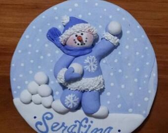 "Snowball ~ handsculpted polymer clay 3"" round snowman ornament"
