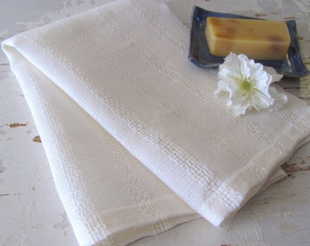 Natural Linen Hand Towel, Rustic Cream White Organic Bath Home Spa Cloth, Artisan Hand Woven French Country Cottage Farmhouse Decor Towel