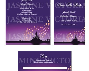 Tangled Dream inspired Wedding Invitation, Save the Date, or RSVP Digital Files