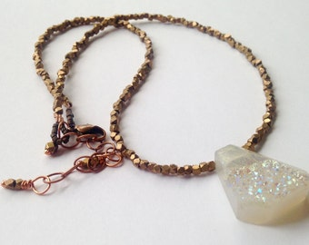 White Pearl Iridescent Druzy Quartz Necklace with Antiqued Geometric Brass Beads
