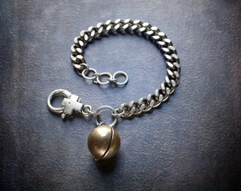 Heavy Antique Silver Curb Chain Bracelet with Antique Brass Ball Locket Charm