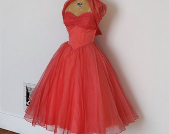 Vintage 50s Dress - 1950s Party Dress - The Ruby