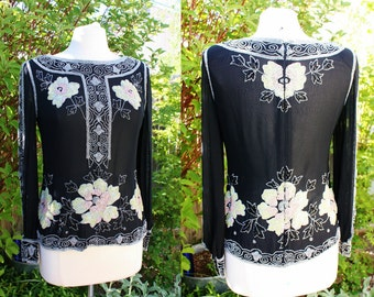 1990's Beaded Silk Black Top Blouse Floral Great Gatsby 1920's Vibe Small Vintage REtro 90s Art Deso Embellished Opera Theatre Evening