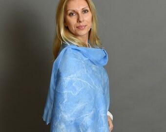 Blue scarf   felted scarf   felted wool scarf   nuno felted shawl   felted shawl   blue felt scarf   nuno scarf