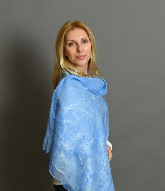 Blue scarf | felted scarf | felted wool scarf | nuno felted shawl | felted shawl | blue felt scarf | nuno scarf