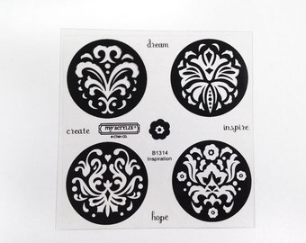 CTMH B1314 Inspiration Close To My Heart embellished decorative flourished damask circles Clear Acrylic Stamp Set Retired Unmounted USED