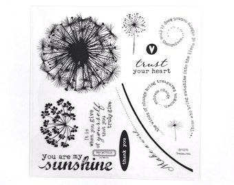CTMH D1375 Treasures Close To My Heart word saying phrase dandelion flower seed whimsical nature sunshine Clear Stamp Retired Unmounted USED