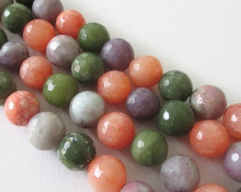 Mix Green Orange Purple Beads -  Faceted Agate Beads - Center Drilled - Round Ball Stone - Natural Gemstone - 16 Strand - 12mm - DIY Jewelry