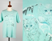 Winter Cat T-Shirt || Sea Foam Green Tee