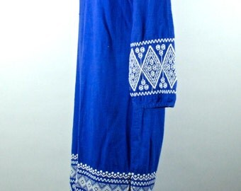 Long Tunic Hippie Dress with Hood and Strong Emboidery  || Mexican Dress || Peasant Dress || Bohohemian Dress