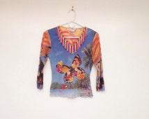 Vintage 1990s Fringed Nylon Semi Sheer Weird Club Crop Top