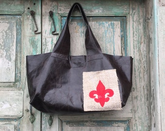 Handmade Black Leather French Market Bag with Red Custom Embroidered Fleur de Lis Exterior Pocket