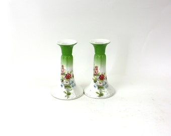 """Vintage 50s Candle Holders Pair Shabby White & Ceramic Pottery w Flowers 5"""" Height"""