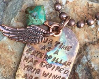 Inspirational copper pendant necklace
