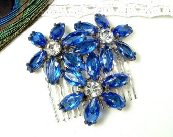 Sapphire Cobalt Blue Rhinestone Bridal Hair Comb, Large Silver 1940s Antique Flower Head Piece, Marquise Crystal Vintage Wedding Hairpiece