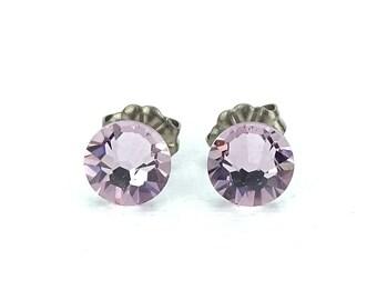 Titanium Studs Earrings Light Amethyst Swarovski Crystals on Titanium Posts Earrings for Sensitive Ears, Nickel Free Titanium Jewellery