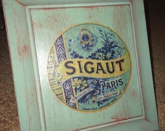 SALE Sigaut Paris French Country Sign Wood Sign Decor Green Blue Red