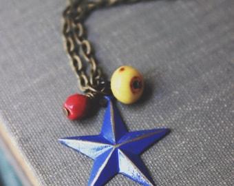 Nautical Patina Blue Sailor Star Charm Necklace